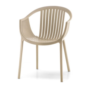 Stolička PE-TATAMI-306 v béžovej farbe otočená spredu