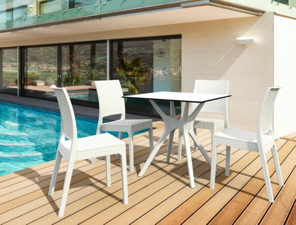 biela exteriérová stolička SI-FLORIDA