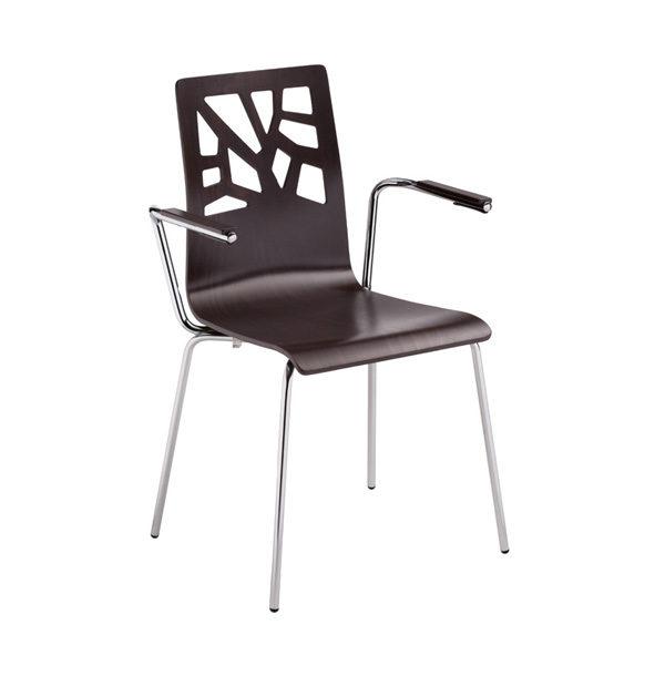 Stolička NS-Verbena s podrúčkami z tmavého dreva otočená spredu.