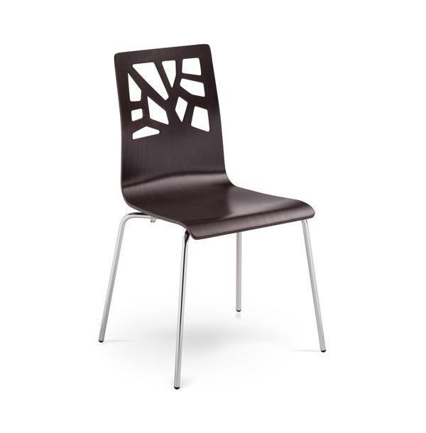 Stolička NS-Verbena z tmavého dreva otočená spredu.