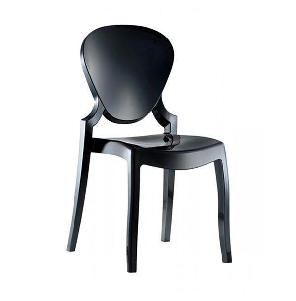 Dizajnová stolička PE-Queen 650 z polykarbonátu v čiernej farbe.