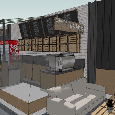 Mika Café-drevex návrh interiéru