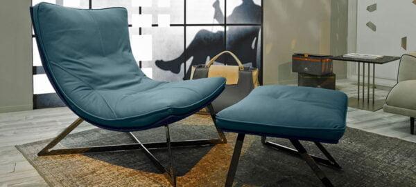 GM-Scarlett-kožené kreslo na kovovej podnoži