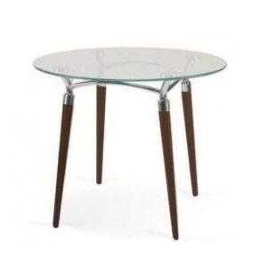 Sklenený stolík NS-Algeo ST s drevenými nohami a skleneným plátom.