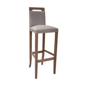 Čalúnená barová stolička SPBST-3123 s drevenými nohami a operadlovým madlom