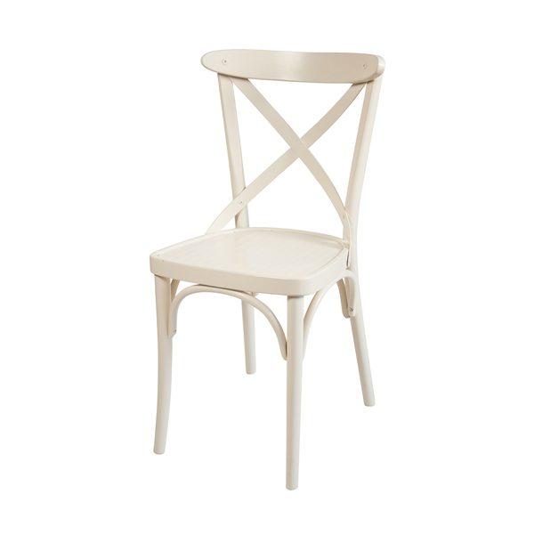 Drevená buková stolička ELA-1327S otočená spredu v bielej farbe