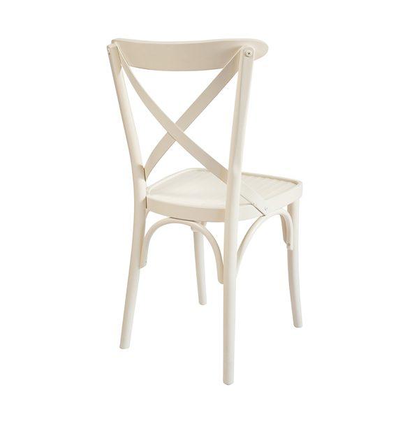 Drevená buková stolička ELA-1327S otočená zozadu v bielej farbe