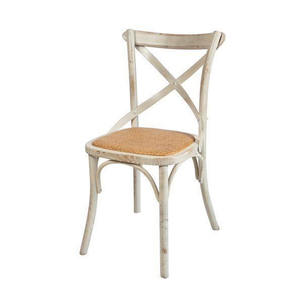 Biela patinovaná drevená stolička ELA-1341S