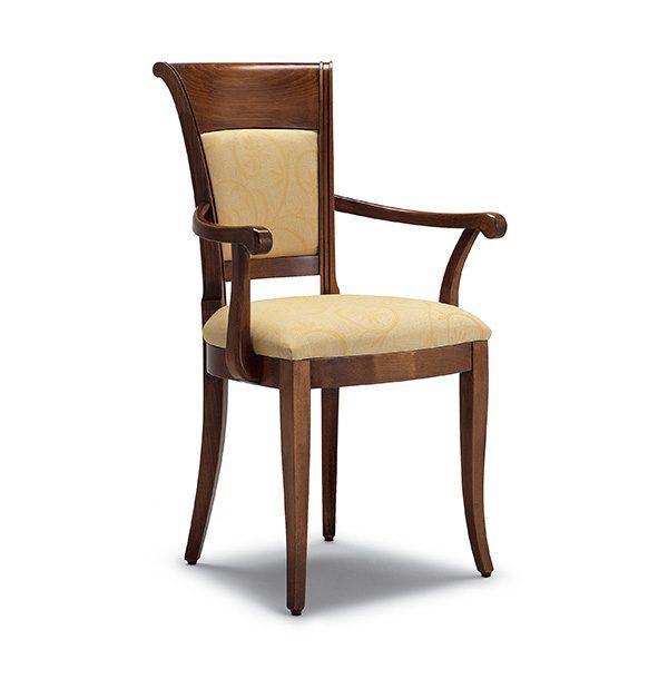 Klasická drevená jedálenská stolička s podrúčkami CI-820P