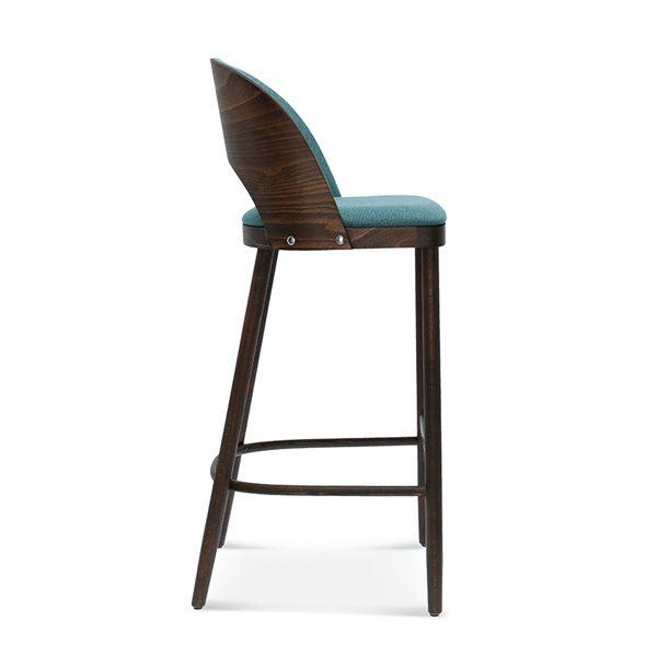 Drevená barová stolička SRBST-1413 Amada s čalúneným operadlom