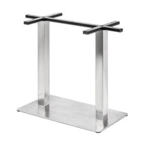 Dvojitá stolová noha PS-E25 z nehrdzavejúcej ocele s obdĺžnikovou podstavou