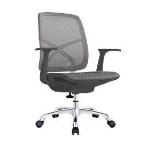 Kancelárska stolička YU-0811(A+A)G v šedej sieťovine so šedým sedákom v bočnom pohľade.