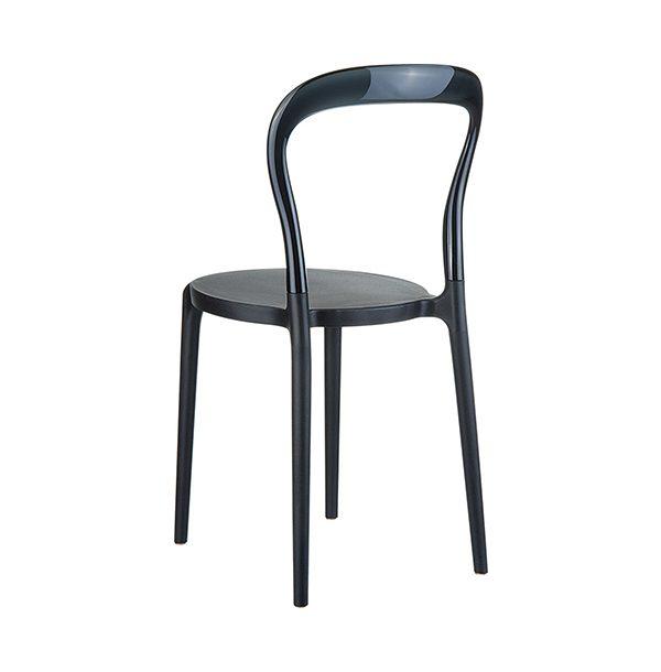 Stolička SI-Mr.BoBo v čiernom prevedení z technopolyméru otočená zozadu