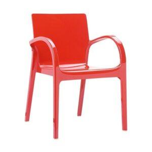 Dizajnové kreslo SI-Dejavu z technopolyméru v červenej farbe.