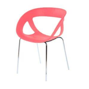Stolička GB-Moema s červenou sedacou časťou z technopolyméru a chrómovými nohami.