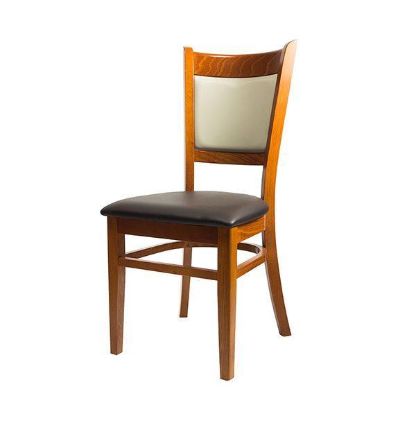 Drevená stolička ELA-1352S s čalúneným sedákom aj opierkou otočená spredu