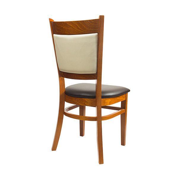Drevená stolička ELA-1352S s čalúneným sedákom aj opierkou otočená zozadu